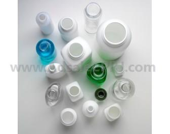 HDPE pharmaceutical bottles produced with compression blow forming technology.